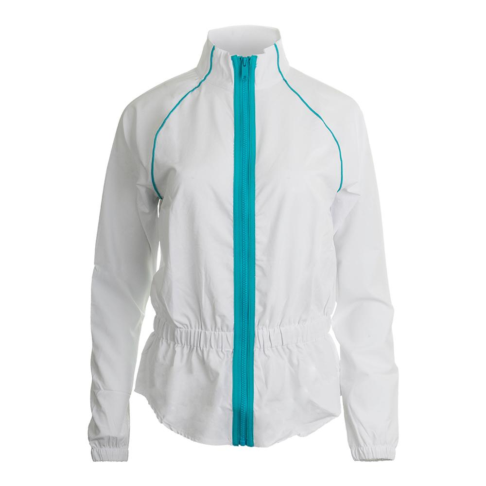 Women's Tropical Tennis Jacket White And Bluebird