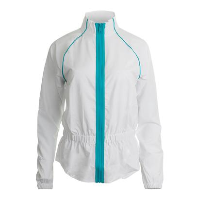 Women`s Tropical Tennis Jacket White and Bluebird