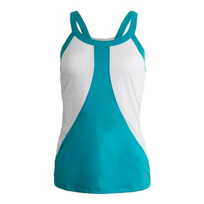 Women`s Tropical Halter Tennis Top Bluebird and White