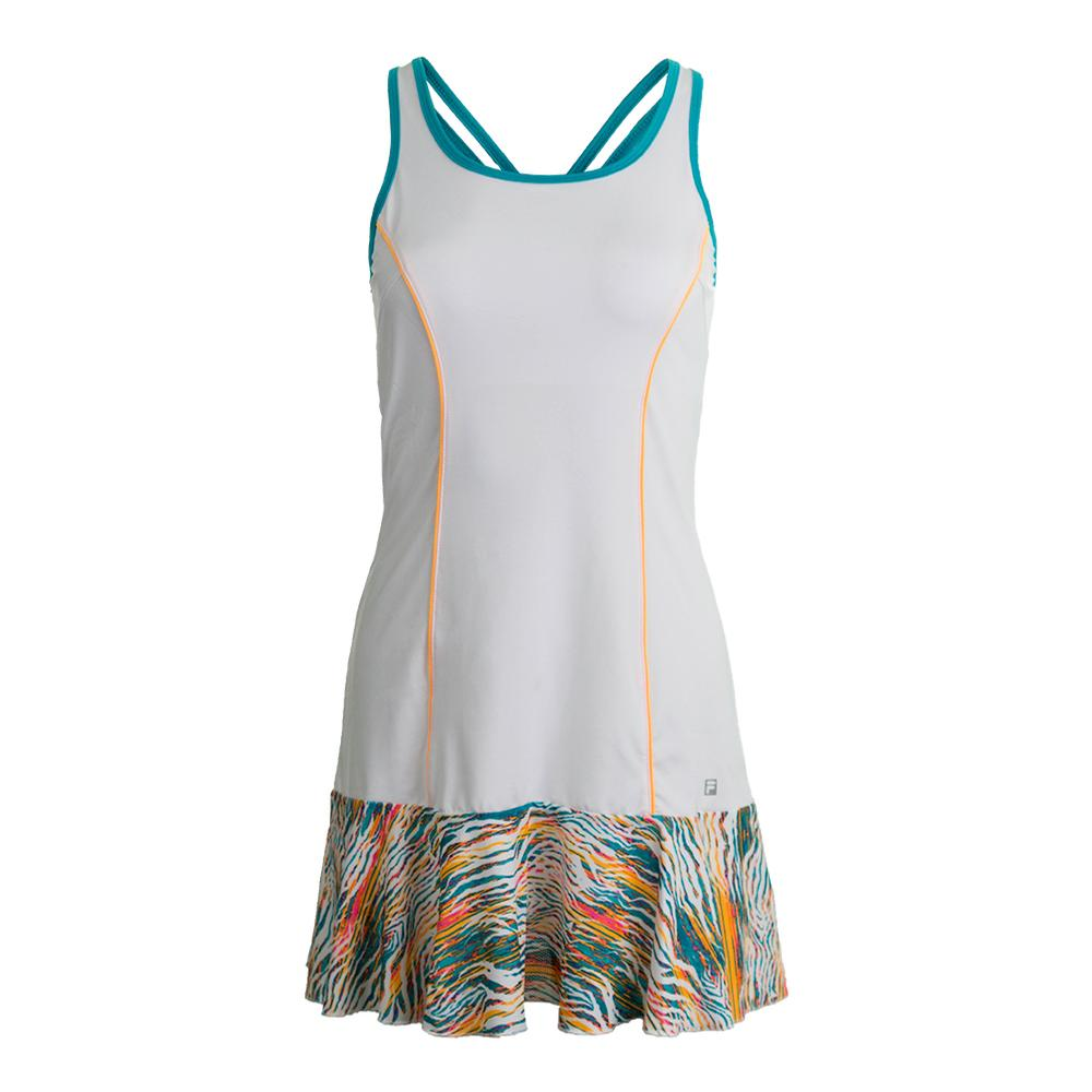 Women's Tropical Tennis Dress White And Tropical Print