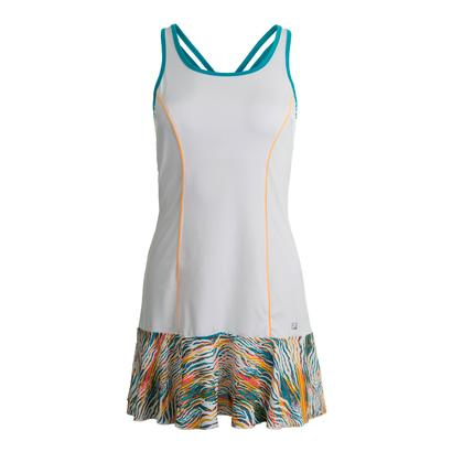 Women`s Tropical Tennis Dress White and Tropical Print