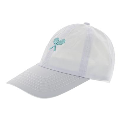 Girls` Tennis Cap White with Green