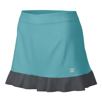 Women`s Star Ruffle Stertch Woven 12.5 Inch Skort Aqua and Turbulence