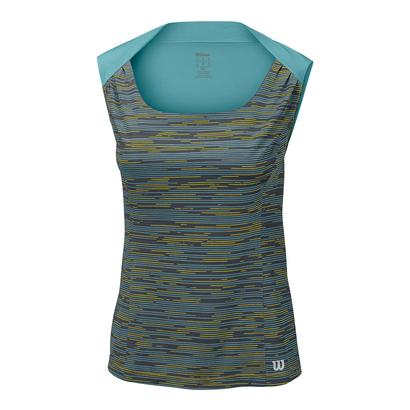 Women`s Star Striated Tennis Tank Turbulence and Aqua