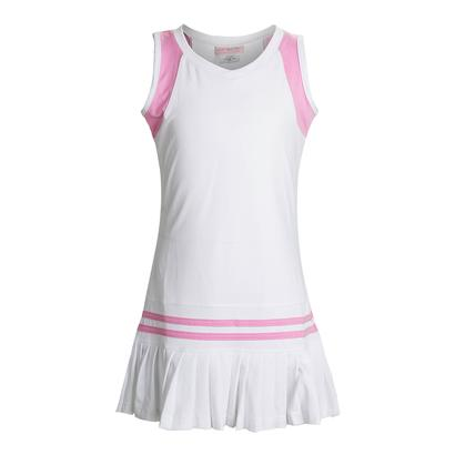 Girls` Color Block Pleated Tennis Dress White and Pink