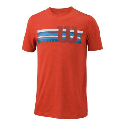 Men`s Stripe W Tech Tennis Tee Fiesta Heather