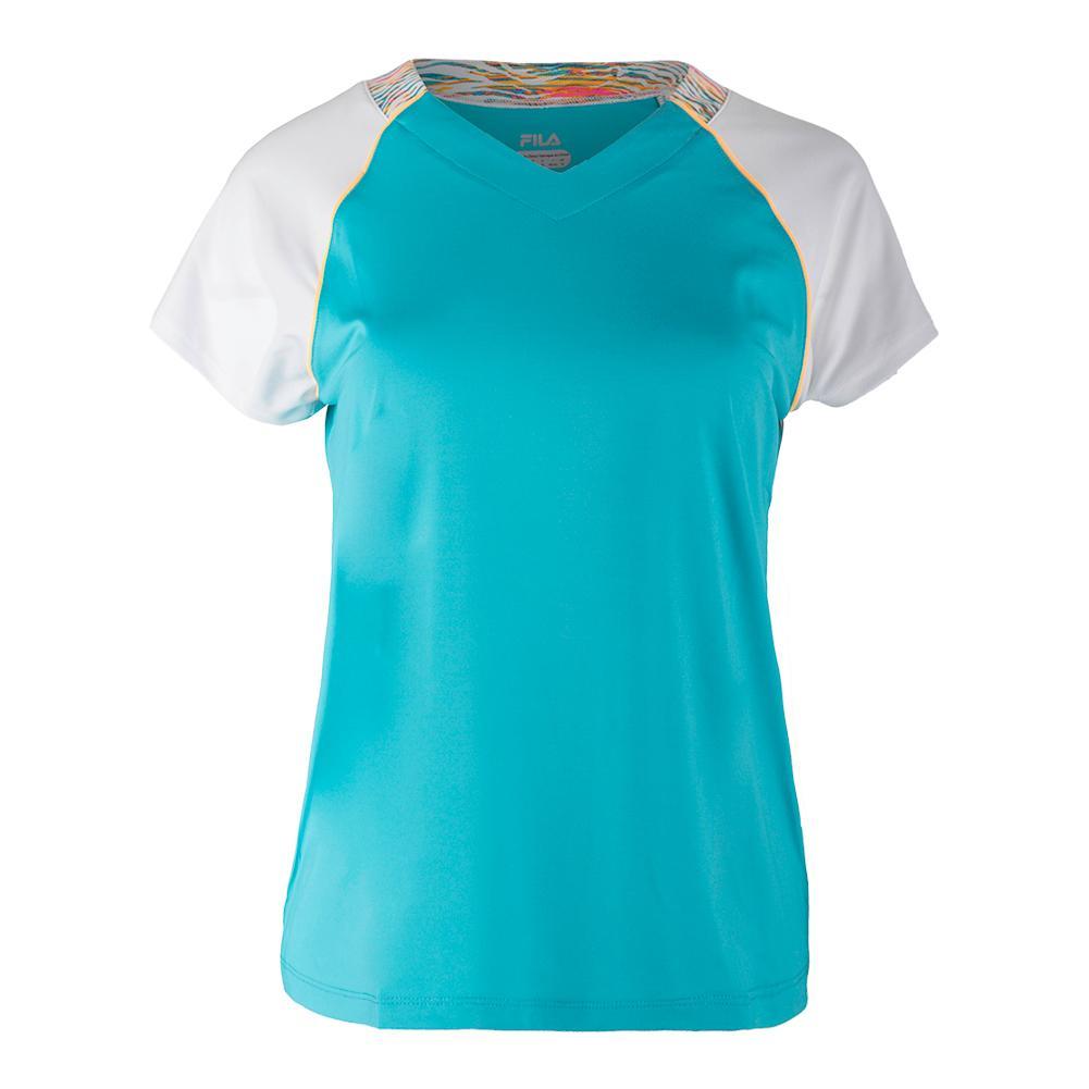 Women's Tropical Short Sleeve Tennis Top Bluebird And White