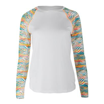 Women`s Tropical Long Sleeve Tennis Top White and Tropical Print
