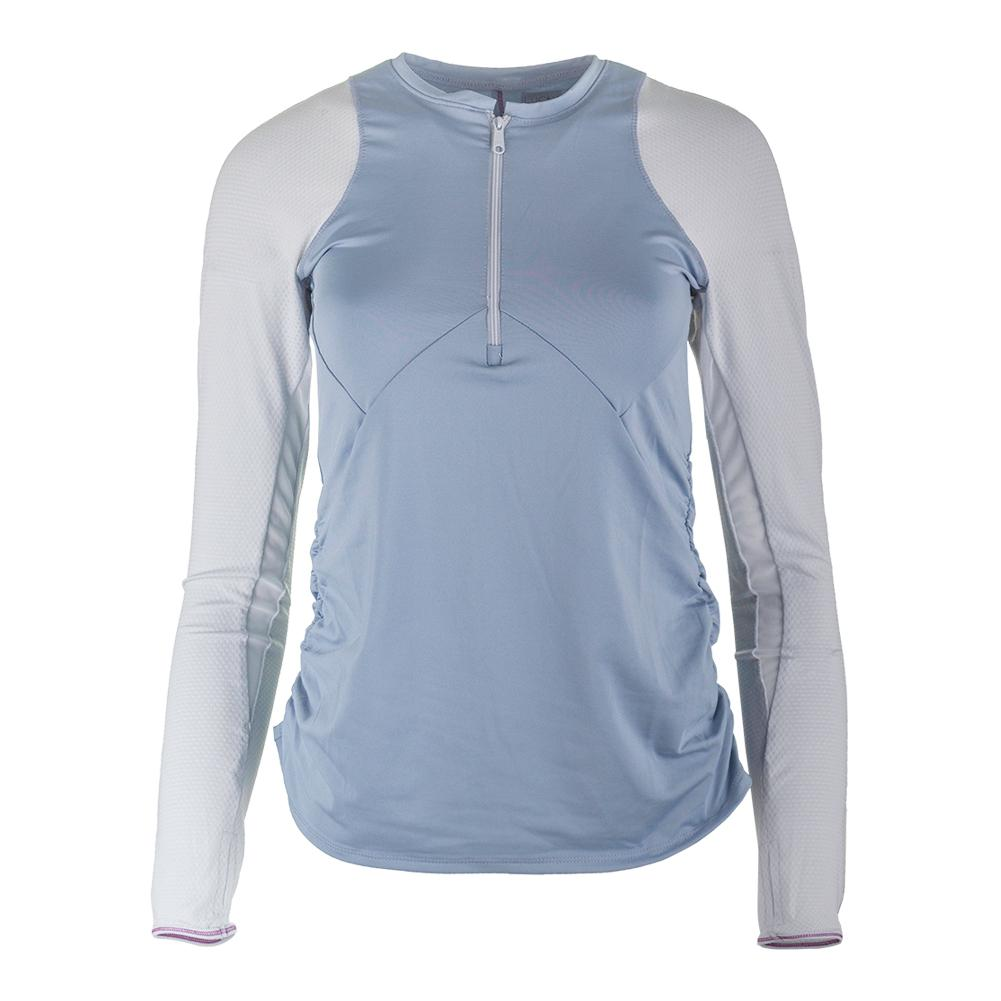 Women's Long Sleeve Zip Tennis Crew Bluemist