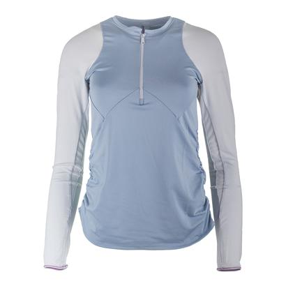 Women`s Long Sleeve Zip Tennis Crew Bluemist