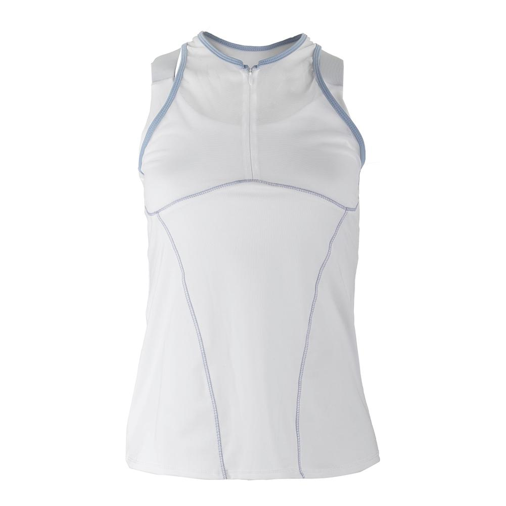 Women's Zip Mesh Tennis Cami White