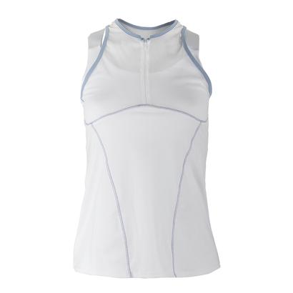 Women`s Zip Mesh Tennis Cami White