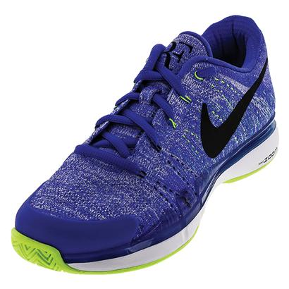 Men`s Zoom Vapor Flyknit Tennis Shoes Paramount Blue and Black