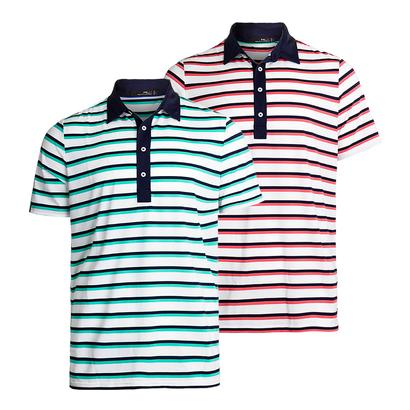 Men`s Airflow Stripe with Woven Details Polo