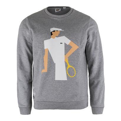 Men`s Vintage Graphic Tennis Sweatshirt Silver Gray Chine
