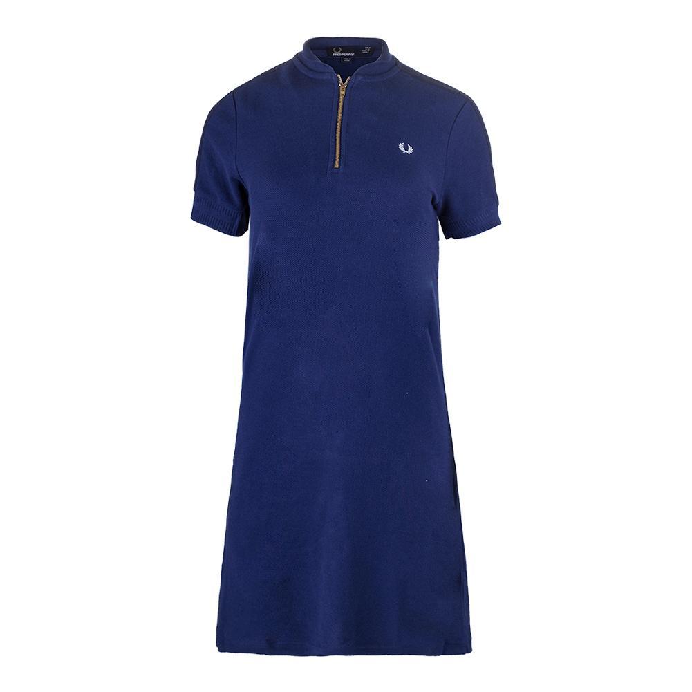Women's Bomber Neck Pique Tennis Dress Medieval Blue