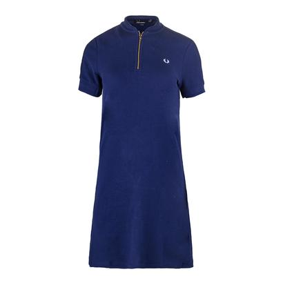 Women`s Bomber Neck Pique Tennis Dress Medieval Blue