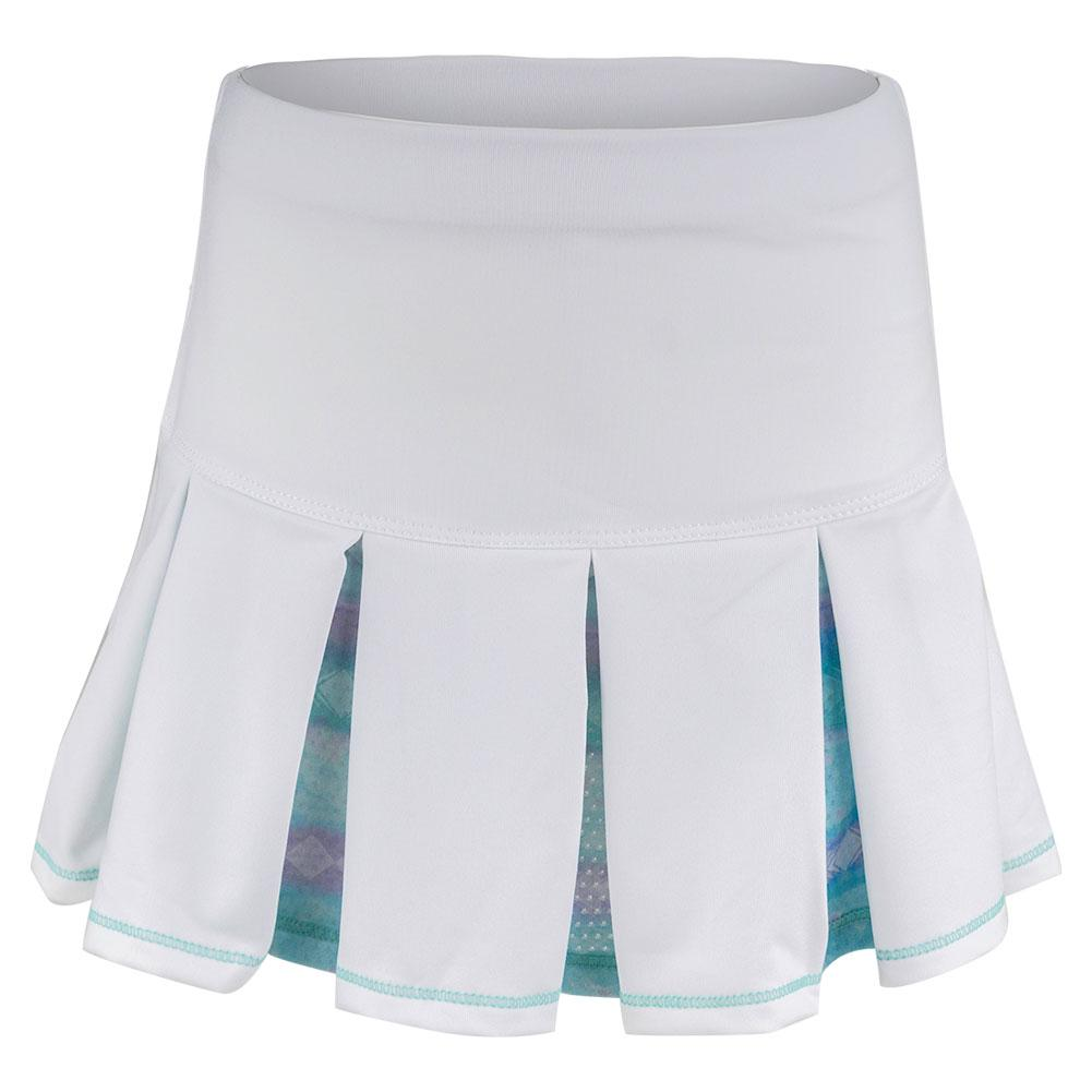 Girls ` Pleat Tennis Skort White And Lagoon