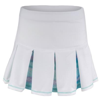 Girls` Pleat Tennis Skort White and Lagoon