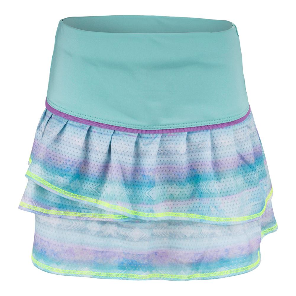 Girls'shoreline Pleat Tier Tennis Skort Lagoon