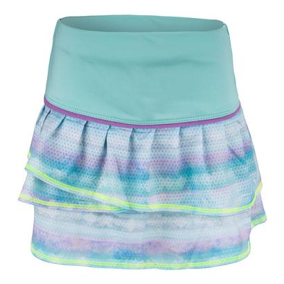 Girls` Shoreline Pleat Tier Tennis Skort Lagoon