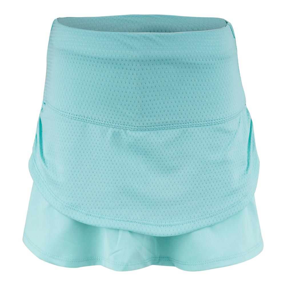Girls ` Pindot Ruched Tier Tennis Skort Lagoon