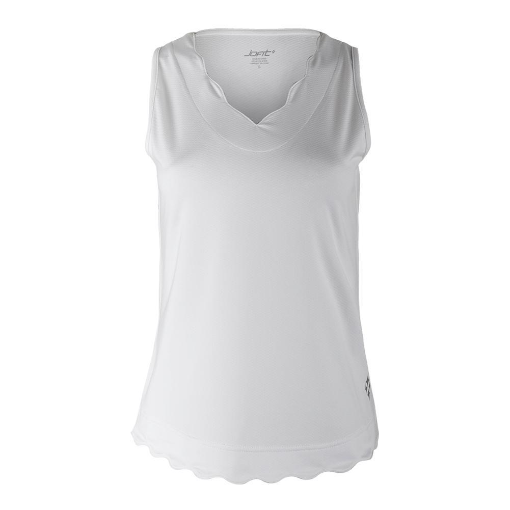 Women's Scallop Tennis Tank White