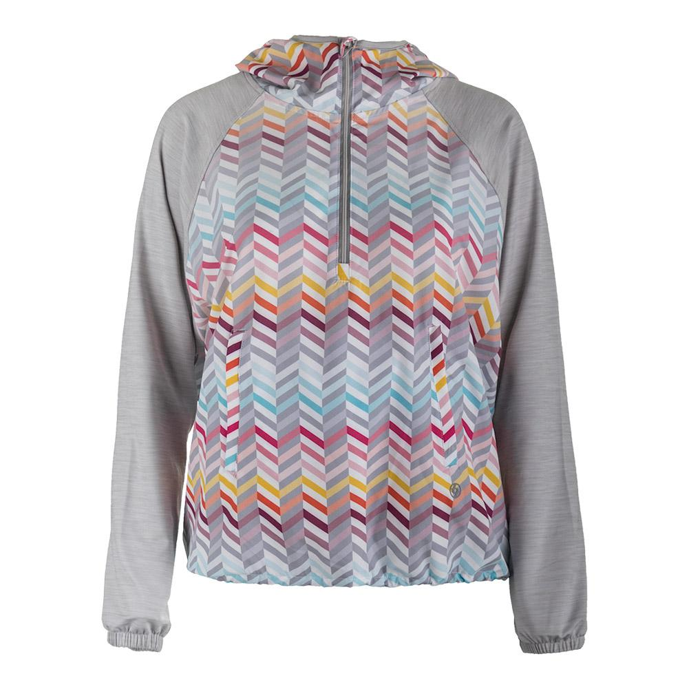 Women's Relay Tennis Pullover Zig Zag Print And Flint Gray