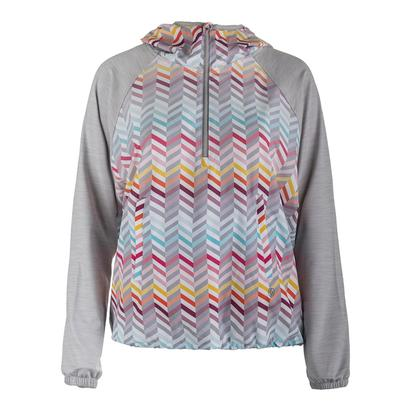 Women`s Relay Tennis Pullover Zig Zag Print and Flint Gray