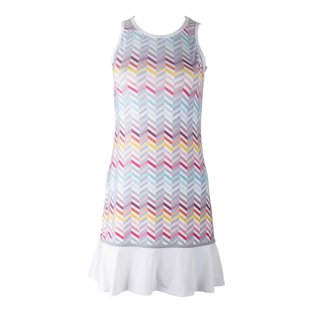 Women's Shake It Up Tennis Dress Zig Zag Print And White