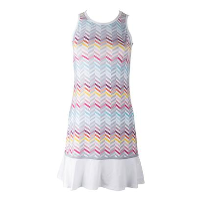 Women`s Shake it Up Tennis Dress Zig Zag Print and White