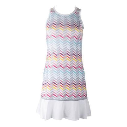 Women`s Shake it Up Tennis Dress Zig Zag Print and White