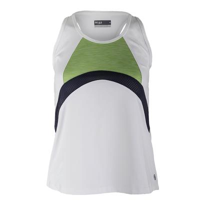 Women`s Persist Tennis Tank White and Leaf Green