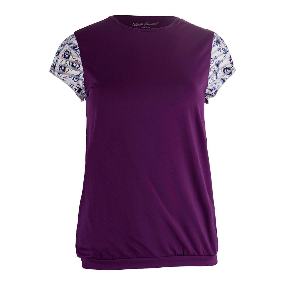 Women's Mosaic Cap Sleeve Tennis Top Violet