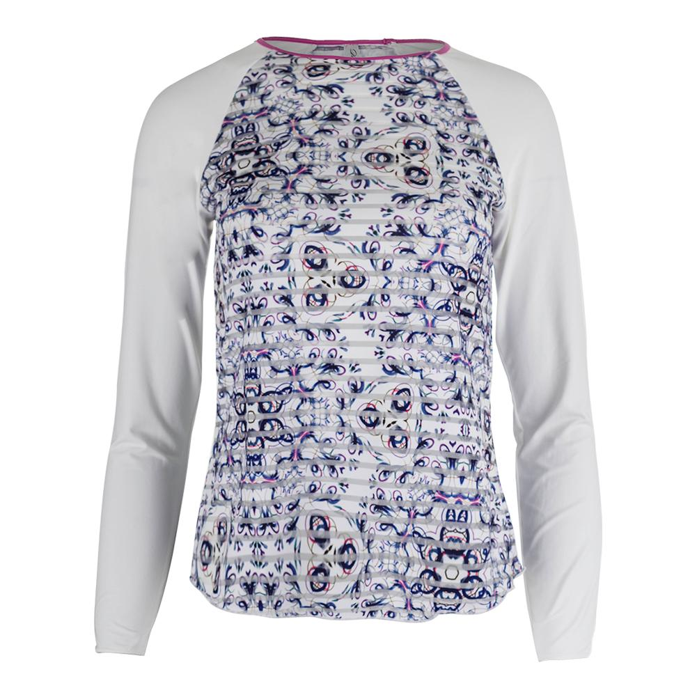 Women's Mosaic Long Sleeve Sheer Body Tennis Top Print