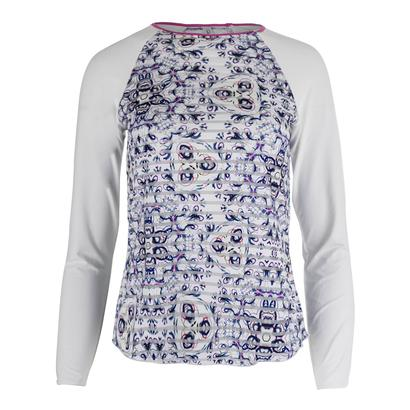 Women`s Mosaic Long Sleeve Sheer Body Tennis Top Print