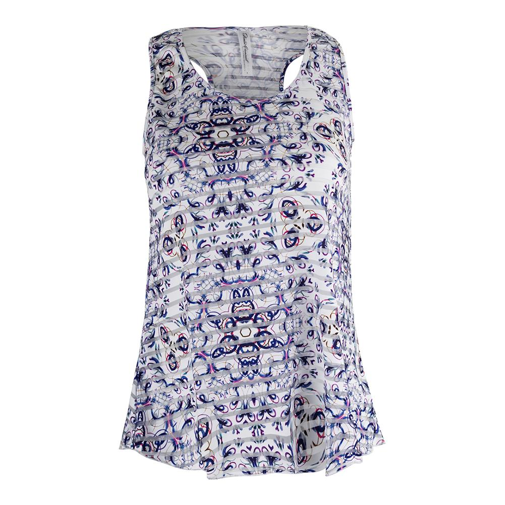 Women's Mosaic Sheer Layer Tennis Top Print