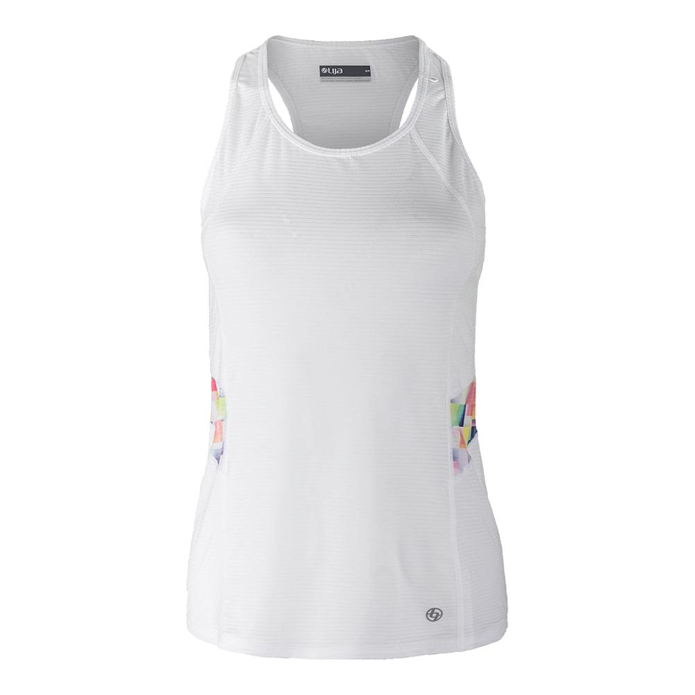 Women's Elite Tennis Tank White And Pixel Print