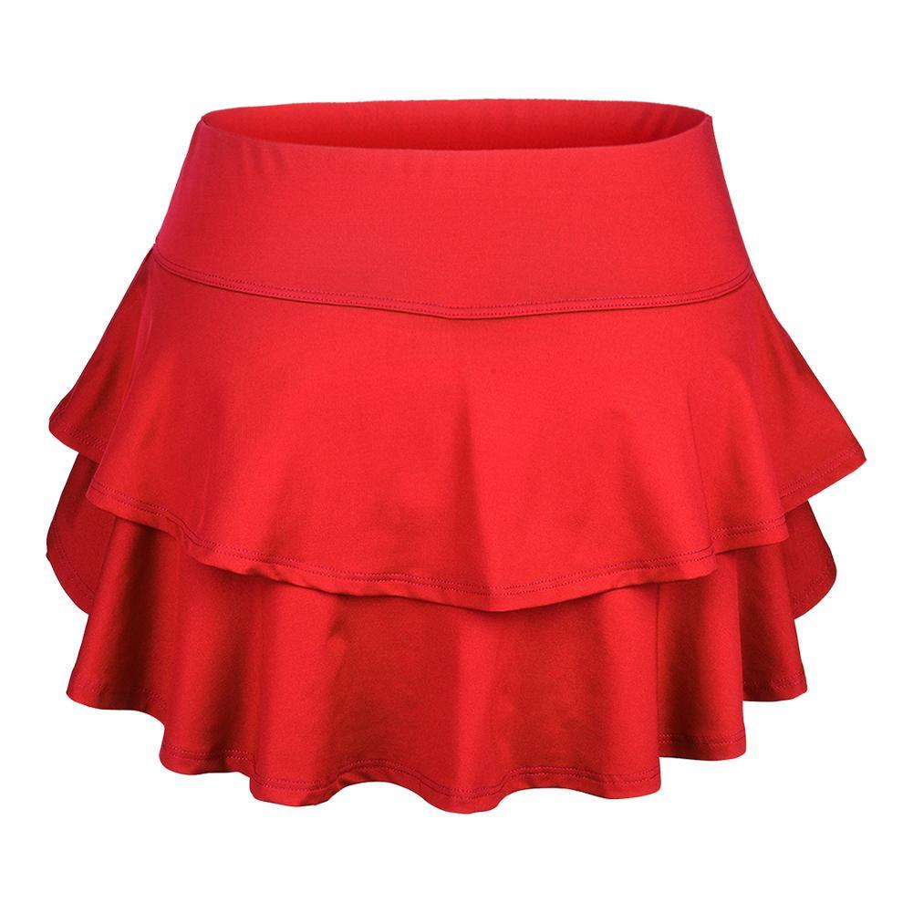Women's Belle Flounce Tennis Skort Red