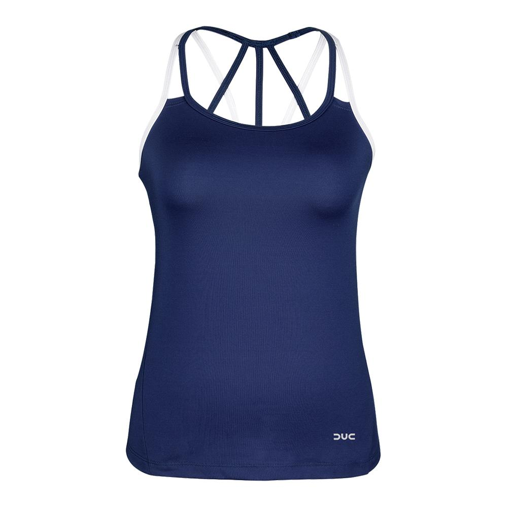 Women's Chic Strappy Tennis Tank Navy