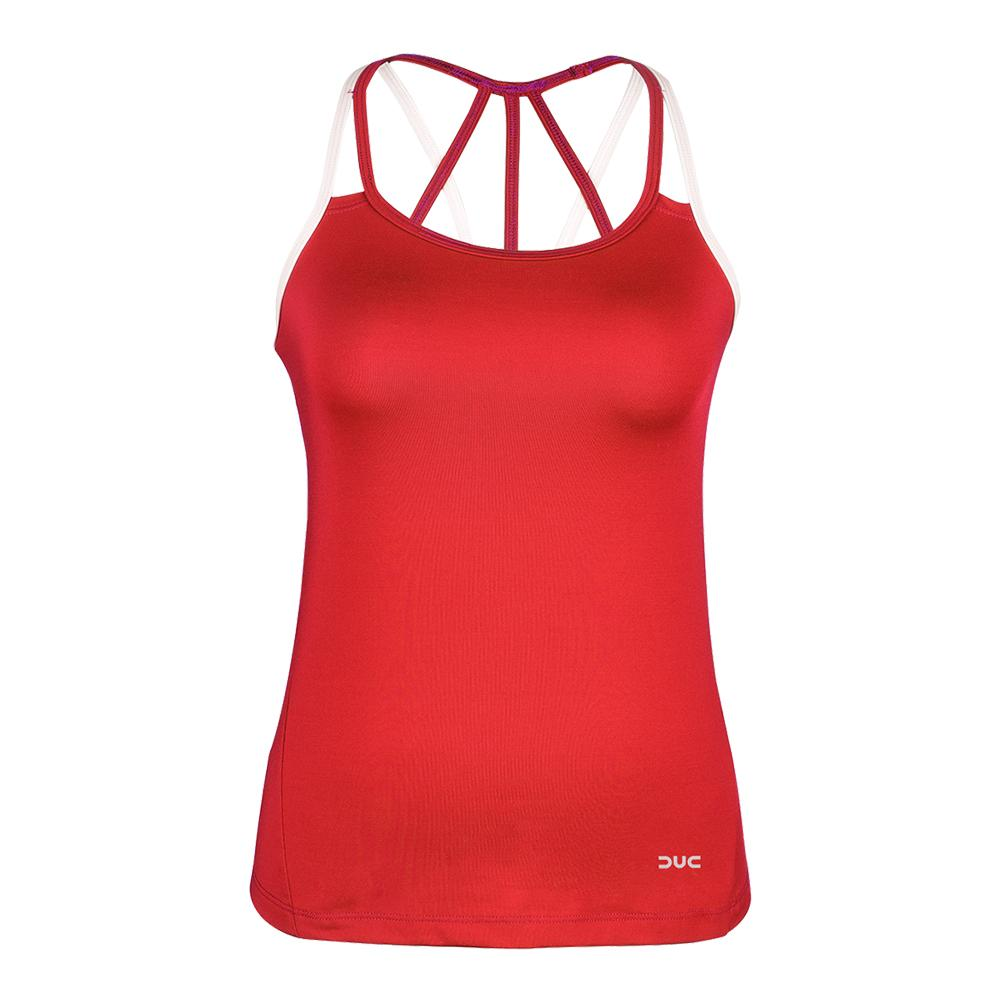 Women's Chic Strappy Tennis Tank Red