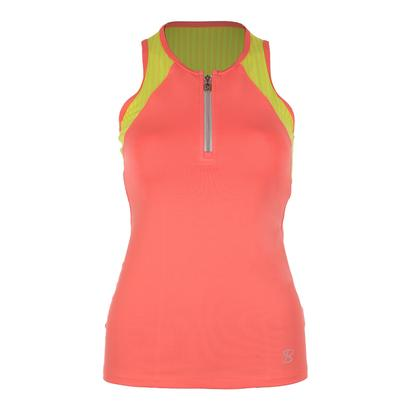 Women`s Athletic Racerback Tennis Top Sorbet and Print