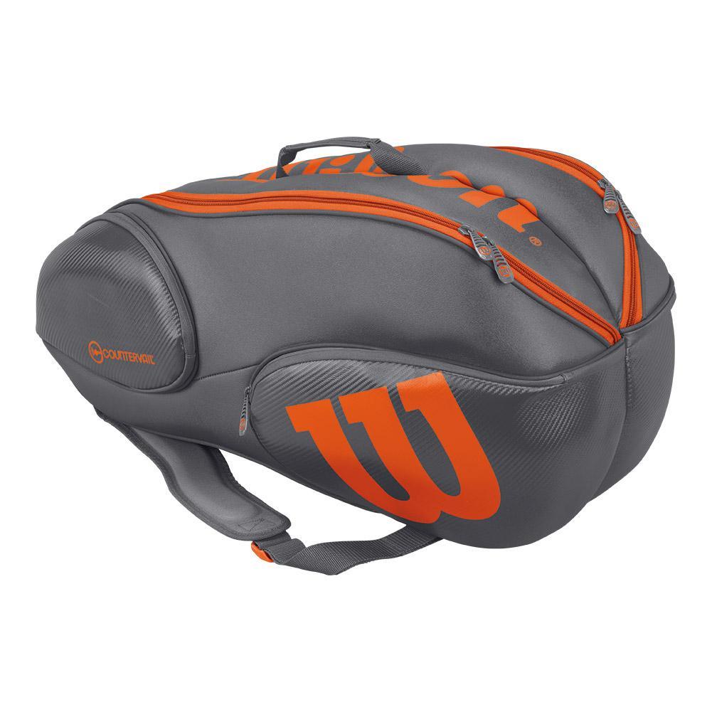 Burn 9 Pack Tennis Bag Gray And Orange