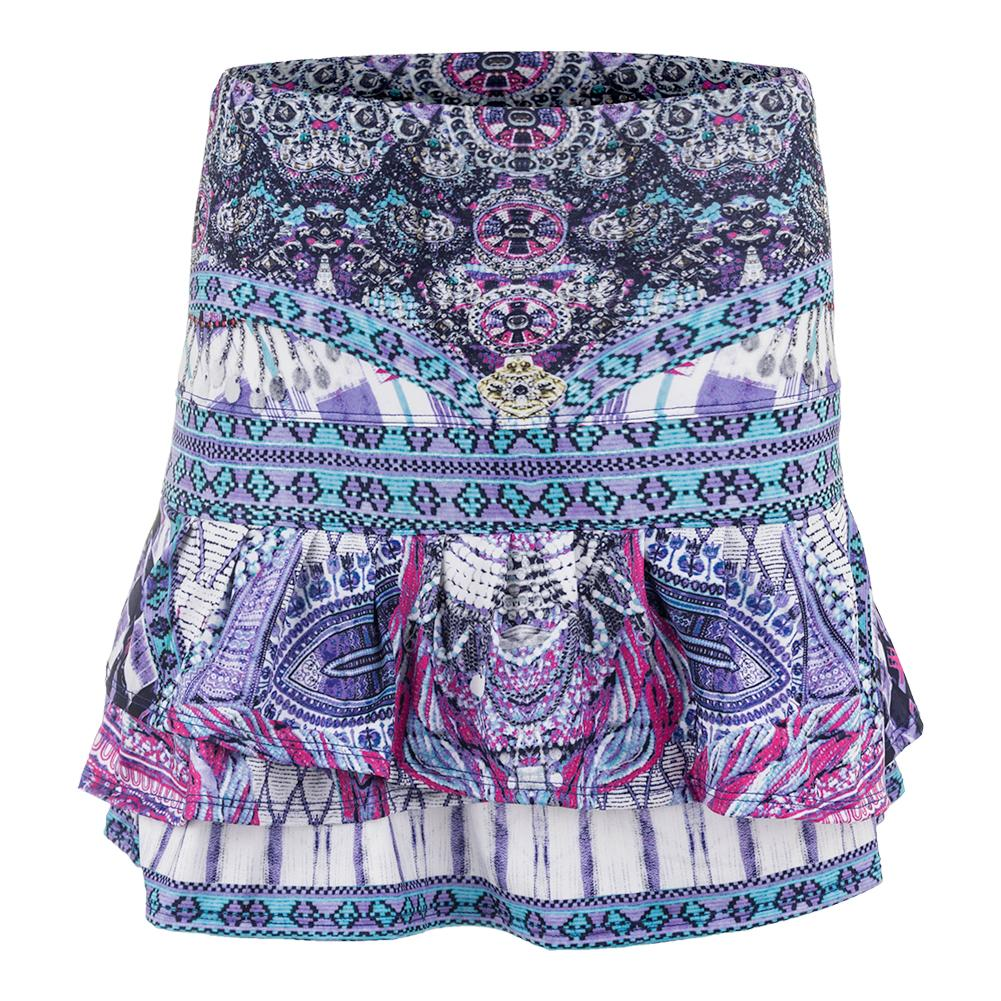 Women's Long Bedazzled Pleat Tier Tennis Skort Print