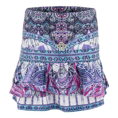 Women`s Long Bedazzled Pleat Tier Tennis Skort Print