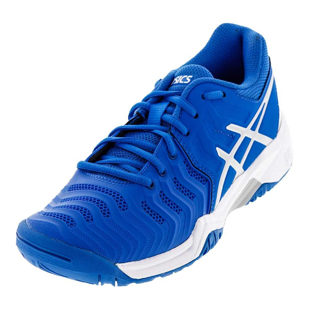 ba5848f1da4c ASICS Juniors  Gel-Resolution 7 Tennis Shoes in Director Blue and Silver