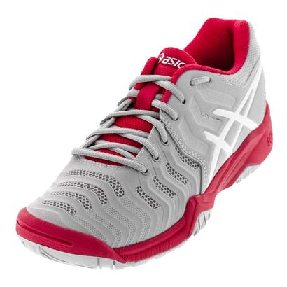 Juniors` Gel-Resolution 7 Tennis Shoes Glacier Gray and Rouge Red