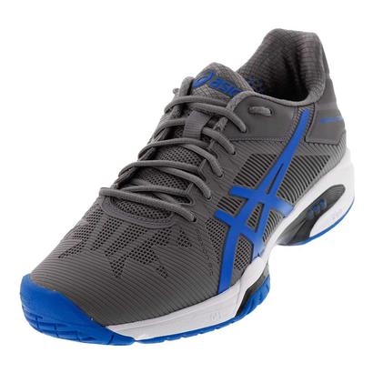 Men`s Gel-Solution Speed 3 Tennis Shoes Aluminum and Electric Blue