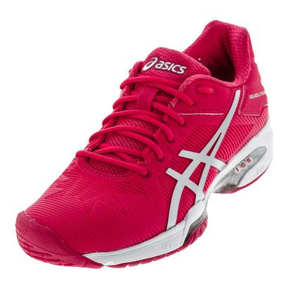 Women`s Gel-Solution Speed 3 Tennis Shoes Rouge Red and Silver