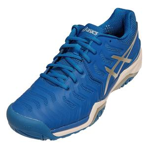 Men`s Gel-Resolution 7 Tennis Shoes Director Blue and Silver